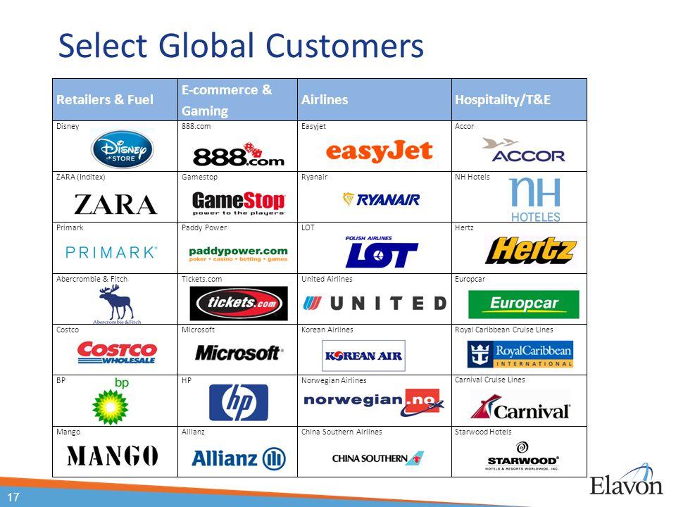 Select Global Customers Retailers & Fuel E-commerce & Gaming AirlinesHospitality/T&E Disney888.comEasyjetAccor ZARA (Inditex)GamestopRyanairNH Hotels