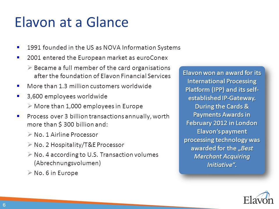 Elavon at a Glance  1991 founded in the US as NOVA Information Systems  2001 entered the European market as euroConex  Became a full member of the