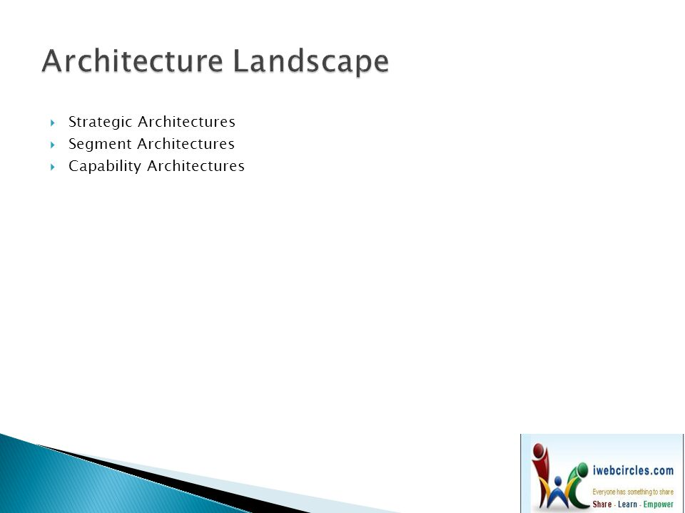  Strategic Architectures  Segment Architectures  Capability Architectures