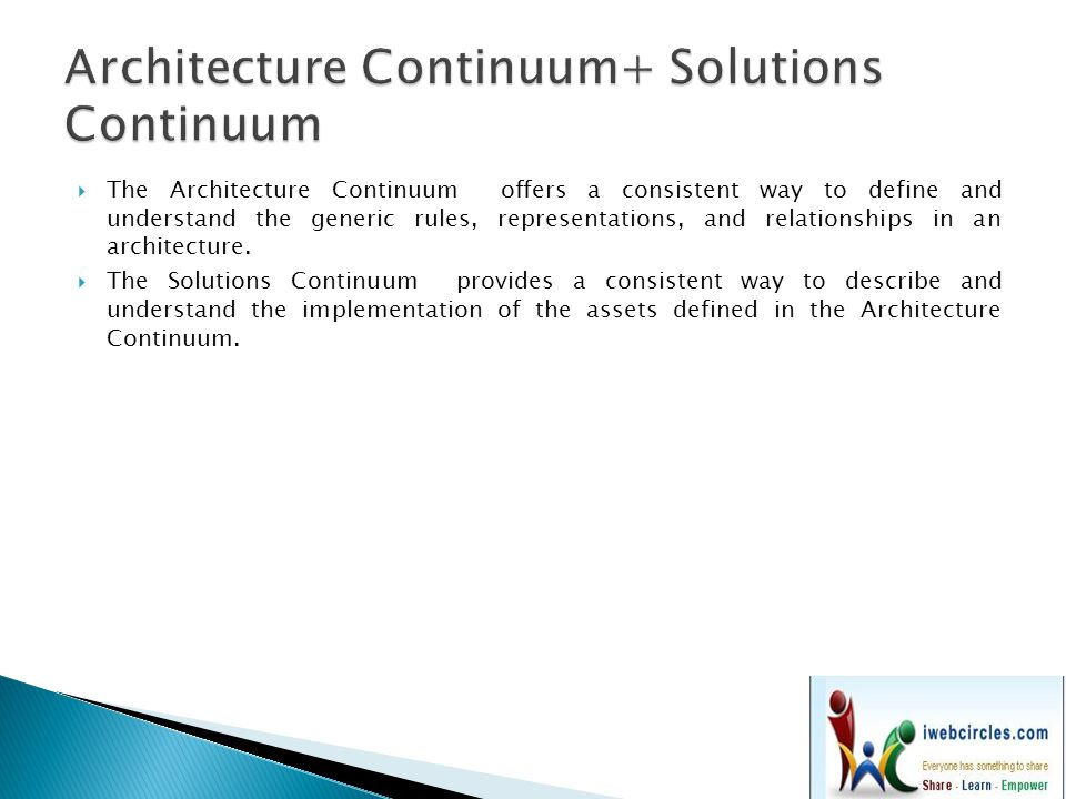  The Architecture Continuum offers a consistent way to define and understand the generic rules, representations, and relationships in an architecture.