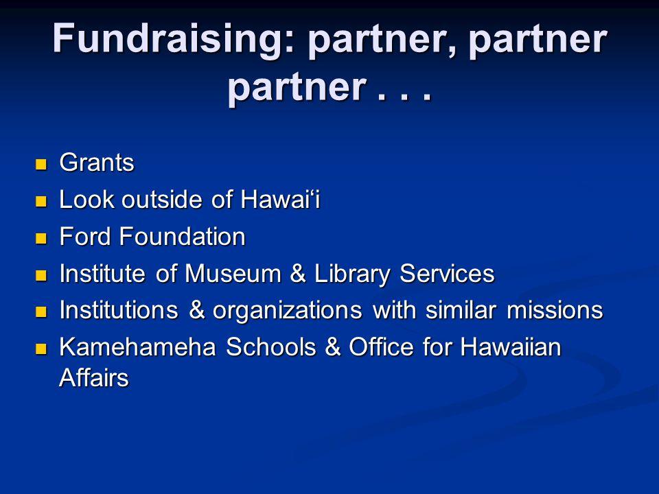 Fundraising: partner, partner partner...