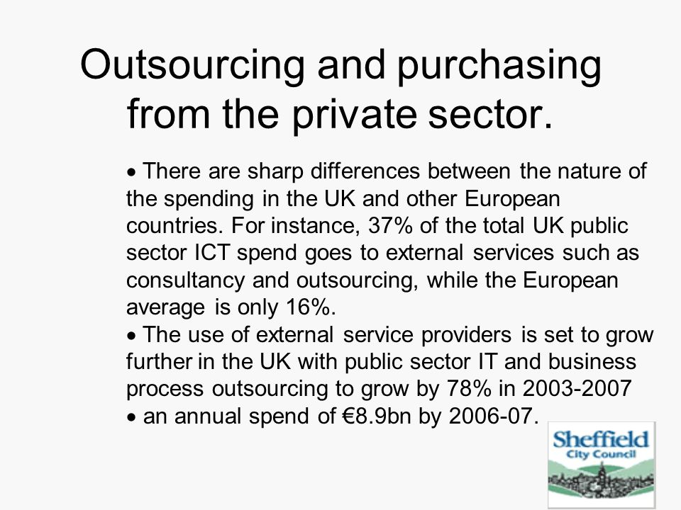 Outsourcing and purchasing from the private sector.