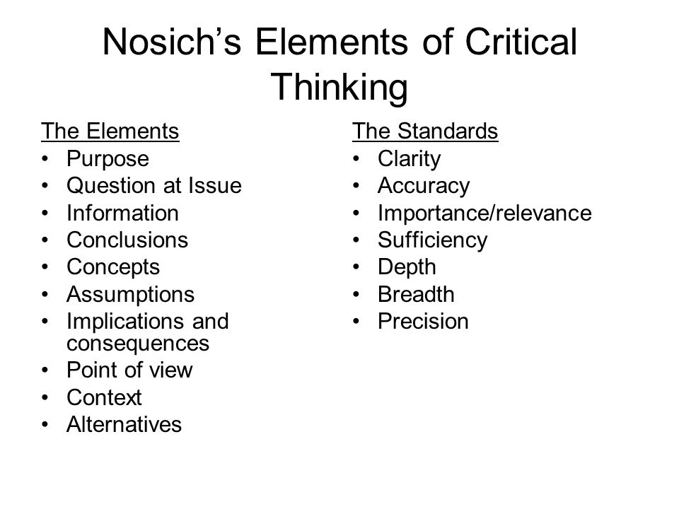 Nosich's Elements of Critical Thinking The Elements Purpose Question at Issue Information Conclusions Concepts Assumptions Implications and consequences Point of view Context Alternatives The Standards Clarity Accuracy Importance/relevance Sufficiency Depth Breadth Precision