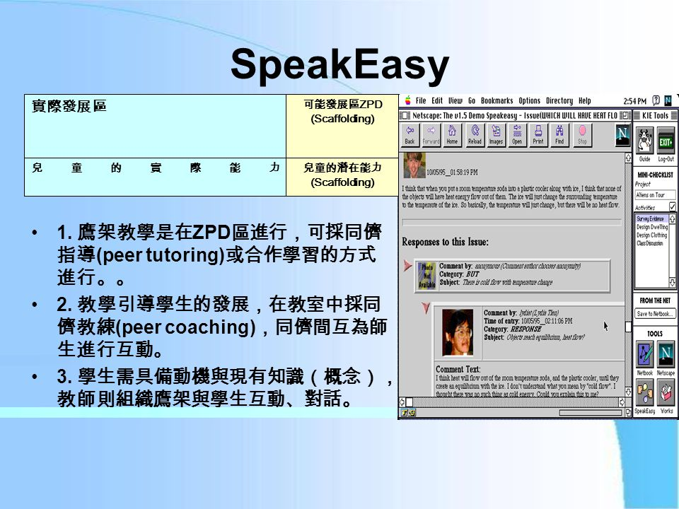 SpeakEasy 1. 鷹架教學是在 ZPD 區進行,可採同儕 指導 (peer tutoring) 或合作學習的方式 進行。。 2.