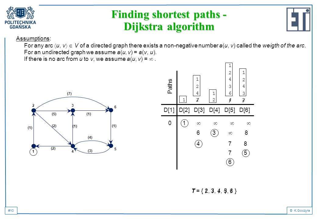 #10© K.Goczyła 1 Assumptions: For any arc  u, v   V of a directed graph there exists a non-negative number a(u, v) called the weigth of the arc. Fo