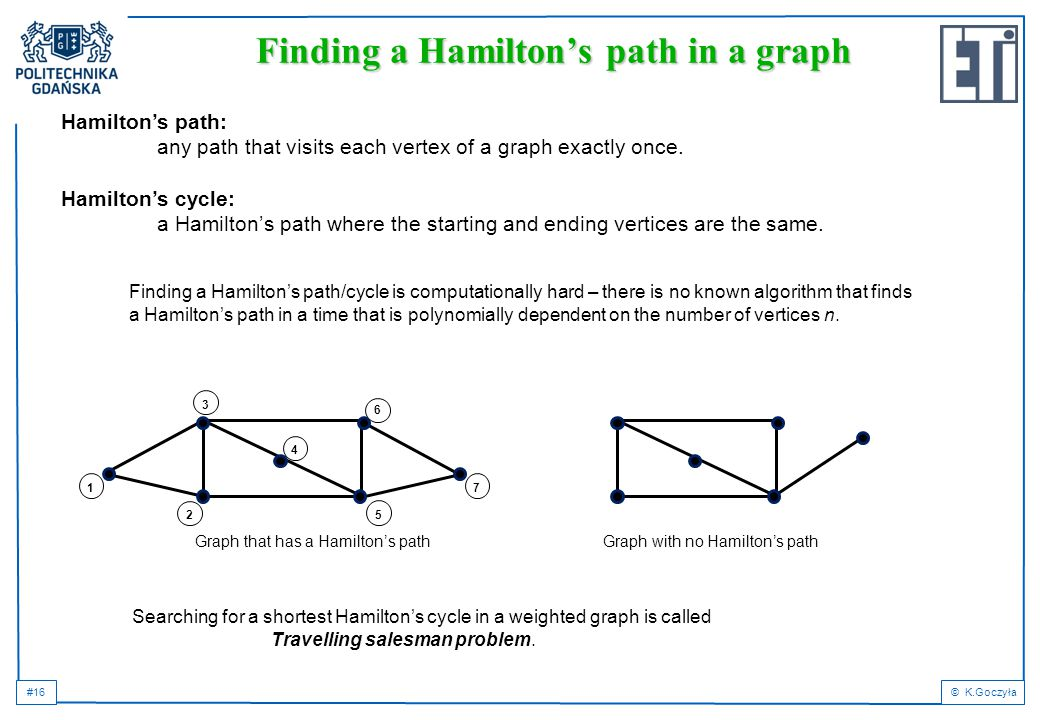 #16© K.Goczyła Finding a Hamilton's path in a graph Hamilton's path: any path that visits each vertex of a graph exactly once.