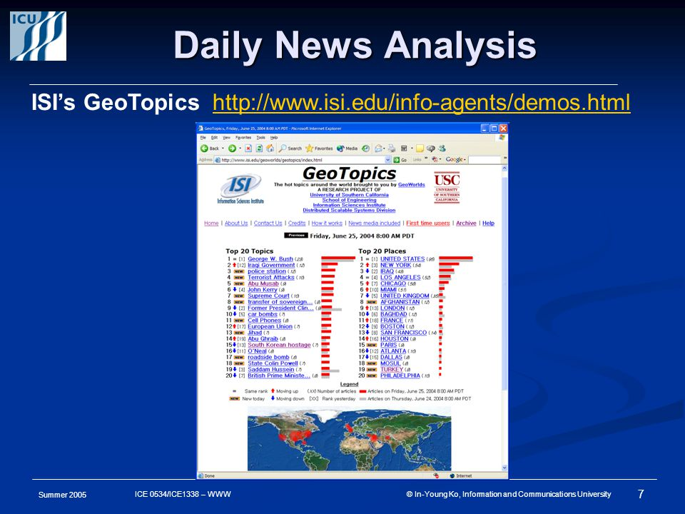 Summer 2005 7 ICE 0534/ICE1338 – WWW © In-Young Ko, Information and Communications University Daily News Analysis ISI's GeoTopics http://www.isi.edu/info-agents/demos.htmlhttp://www.isi.edu/info-agents/demos.html