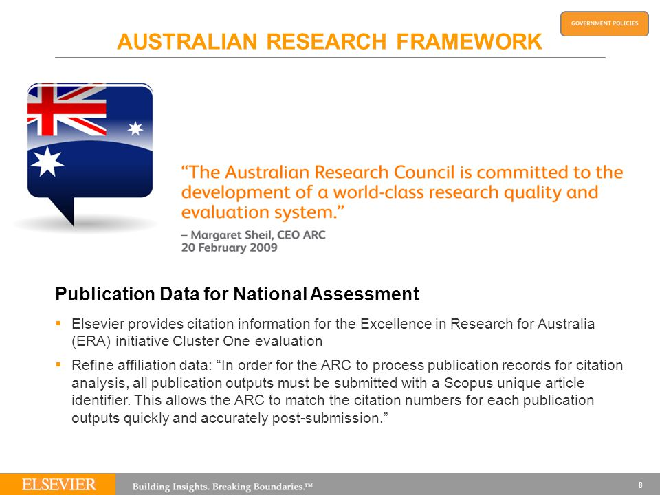 8 AUSTRALIAN RESEARCH FRAMEWORK Publication Data for National Assessment  Elsevier provides citation information for the Excellence in Research for Australia (ERA) initiative Cluster One evaluation  Refine affiliation data: In order for the ARC to process publication records for citation analysis, all publication outputs must be submitted with a Scopus unique article identifier.