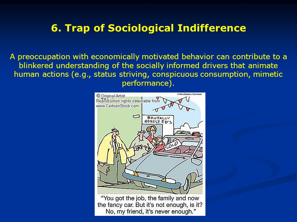 6. Trap of Sociological Indifference A preoccupation with economically motivated behavior can contribute to a blinkered understanding of the socially