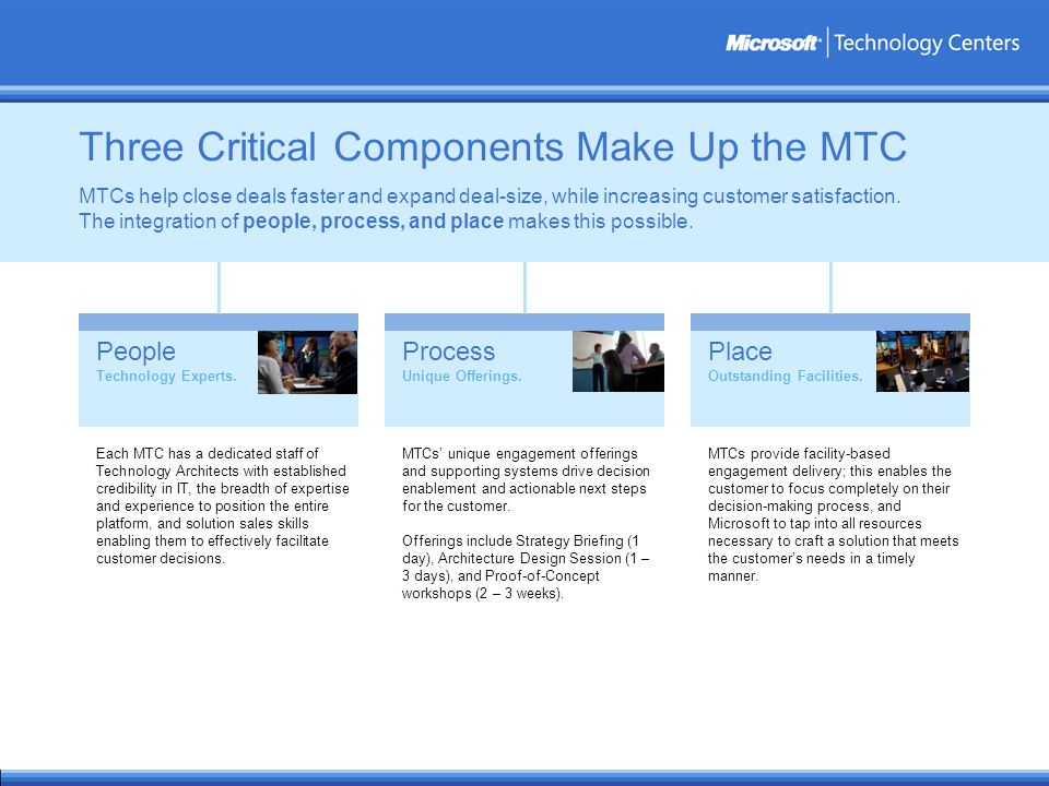 Three Critical Components Make Up the MTC People Technology Experts.