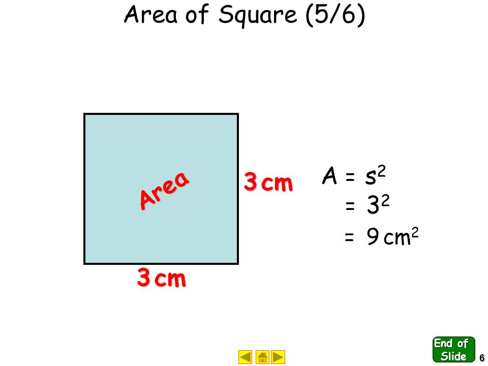 5 Area of Square (4/6) A A rea = s s ide x s s ide A A = s s xs Area side side A A = s2s2s2s2 End of Slide