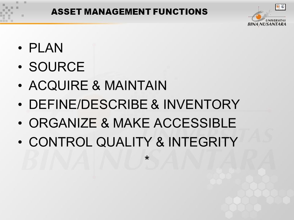 ASSET MANAGEMENT FUNCTIONS PLAN SOURCE ACQUIRE & MAINTAIN DEFINE/DESCRIBE & INVENTORY ORGANIZE & MAKE ACCESSIBLE CONTROL QUALITY & INTEGRITY *