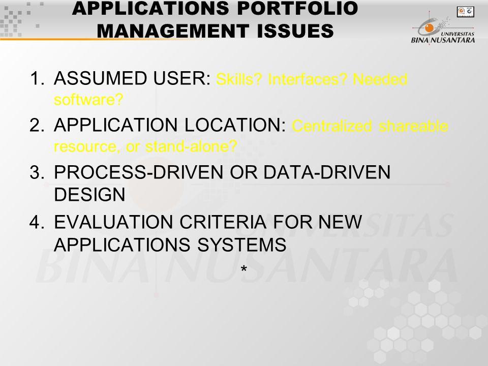 APPLICATIONS PORTFOLIO MANAGEMENT ISSUES 1.ASSUMED USER: Skills.