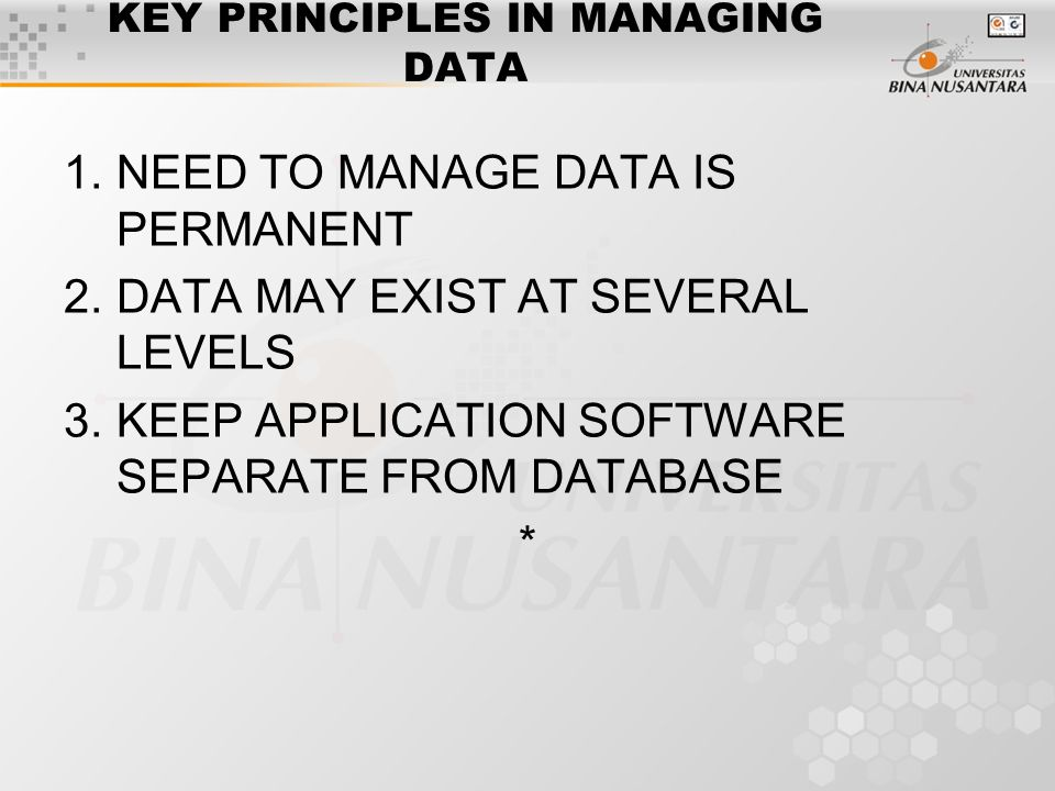 KEY PRINCIPLES IN MANAGING DATA 1.NEED TO MANAGE DATA IS PERMANENT 2.DATA MAY EXIST AT SEVERAL LEVELS 3.KEEP APPLICATION SOFTWARE SEPARATE FROM DATABASE *