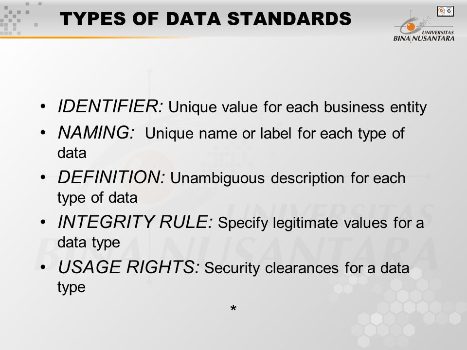 TYPES OF DATA STANDARDS IDENTIFIER: Unique value for each business entity NAMING: Unique name or label for each type of data DEFINITION: Unambiguous description for each type of data INTEGRITY RULE: Specify legitimate values for a data type USAGE RIGHTS: Security clearances for a data type *