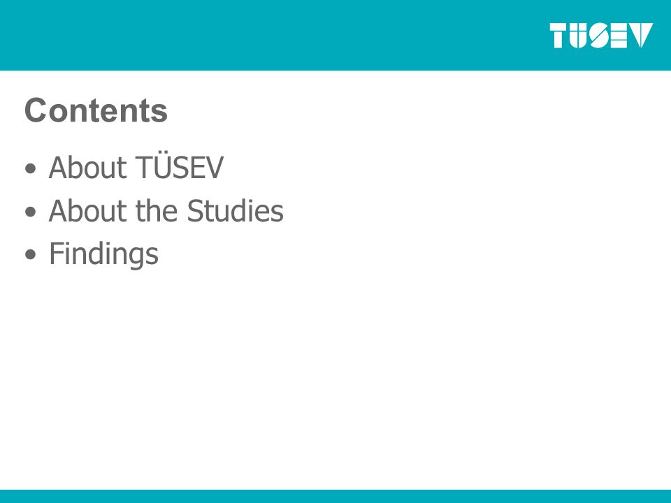 About TÜSEV Established in 1993, founded by 23 of Turkey's leading NGOs 120 members with collective assets over €3bn (US$4.7bn) Members working in areas of education, health, arts, culture and social assistance Programme areas: Law Reform, Social Investment, Research, International Relations EFC Governing Council member and member of EFC since 1994 Also member of the WINGS network, CIVICUS and ISTR For more information: www.tusev.org.trwww.tusev.org.tr