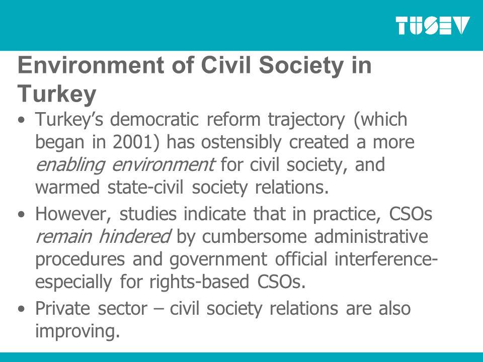 Values of Civil Society in Turkey Democracy, transparency, tolerance, nonviolance, gender equity, poverty eradication, environmental sustainability.