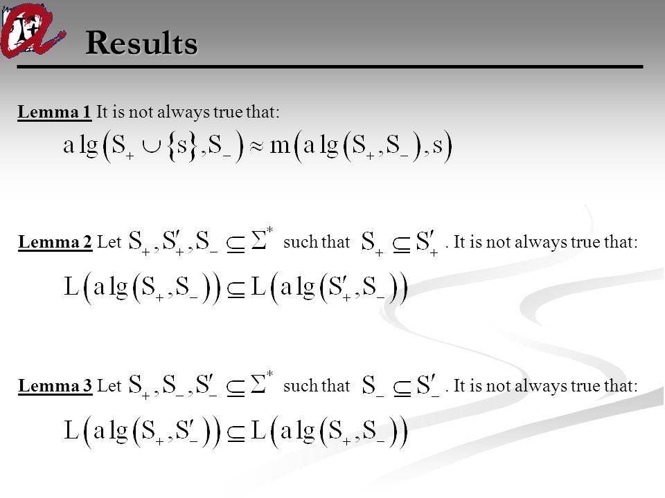 Results Lemma 1 It is not always true that: Lemma 2 Let such that. It is not always true that:Lemma 3 Let such that. It is not always true that: