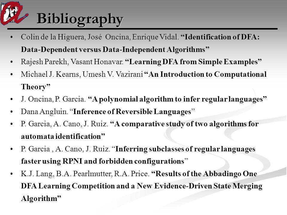 "Bibliography Colin de la Higuera, José Oncina, Enrique Vidal. ""Identification of DFA: Data-Dependent versus Data-Independent Algorithms"" Rajesh Parekh"