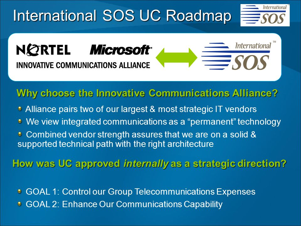 How was UC approved internally as a strategic direction? Why choose the Innovative Communications Alliance? International SOS UC Roadmap Alliance pair