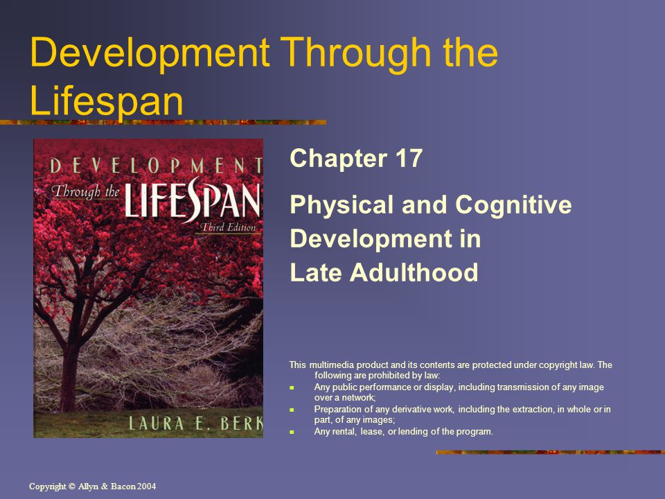 Copyright © Allyn & Bacon 2004 Development Through the Lifespan Chapter 17 Physical and Cognitive Development in Late Adulthood This multimedia produc