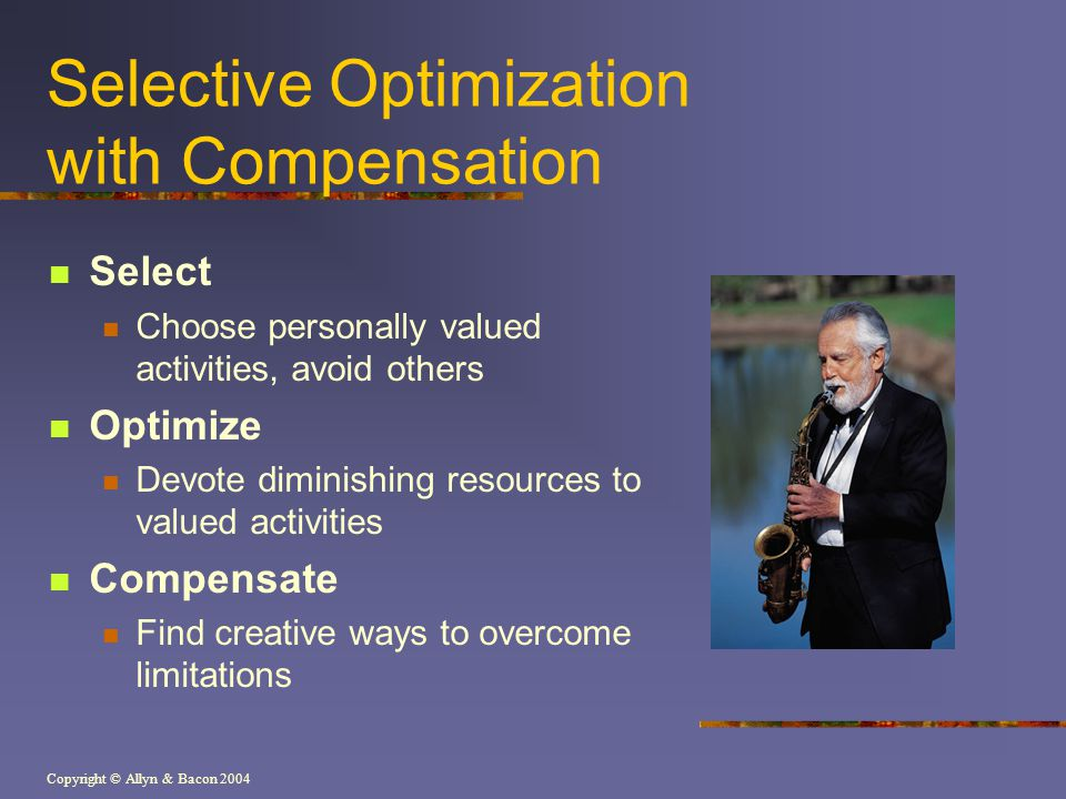 Copyright © Allyn & Bacon 2004 Selective Optimization with Compensation Select Choose personally valued activities, avoid others Optimize Devote dimin