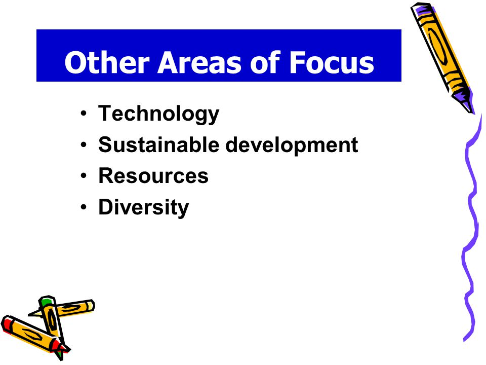 Other Areas of Focus Technology Sustainable development Resources Diversity