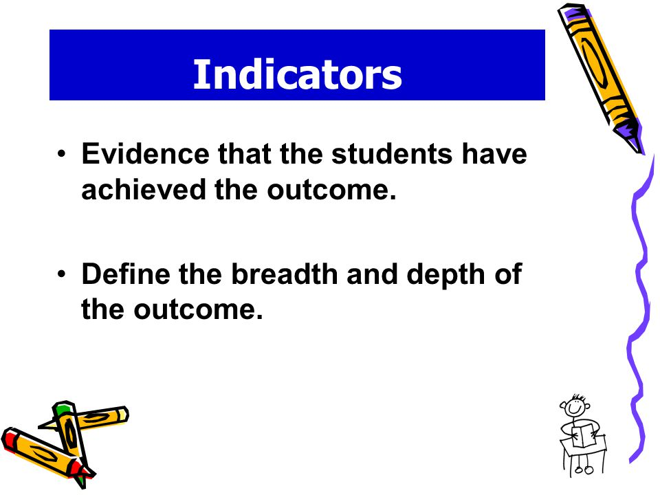 Indicators Evidence that the students have achieved the outcome.