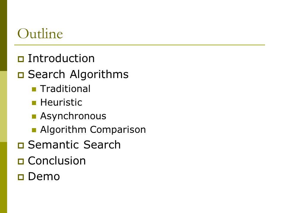 Outline  Introduction  Search Algorithms Traditional Heuristic Asynchronous Algorithm Comparison  Semantic Search  Conclusion  Demo