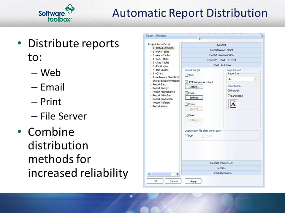 Automatic Report Distribution Distribute reports to: – Web – Email – Print – File Server Combine distribution methods for increased reliability