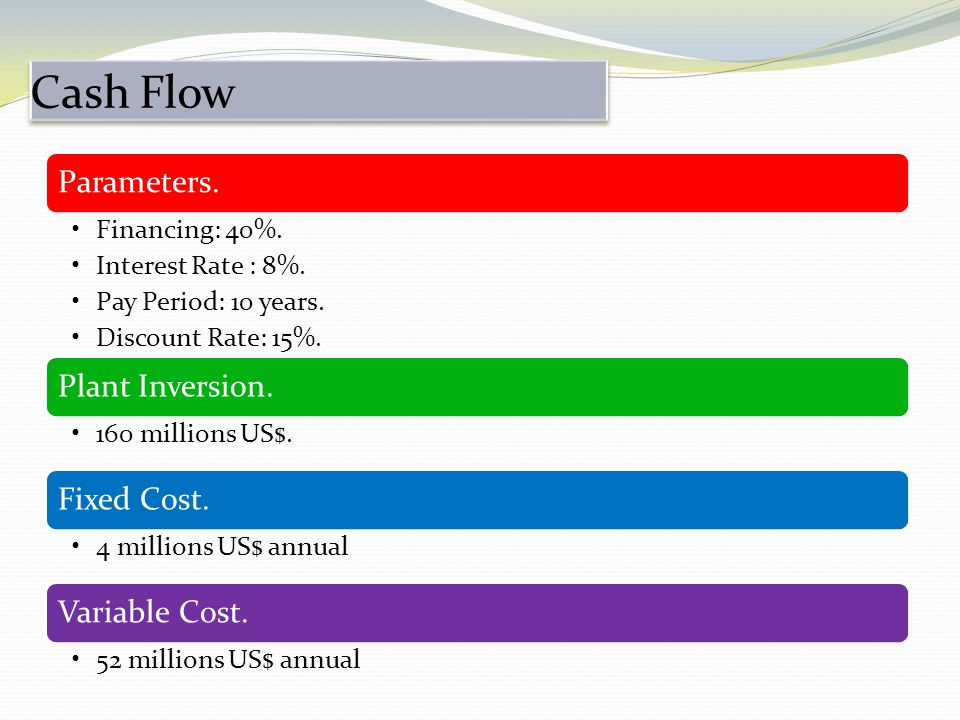 Cash Flow Parameters. Financing: 40%. Interest Rate : 8%.