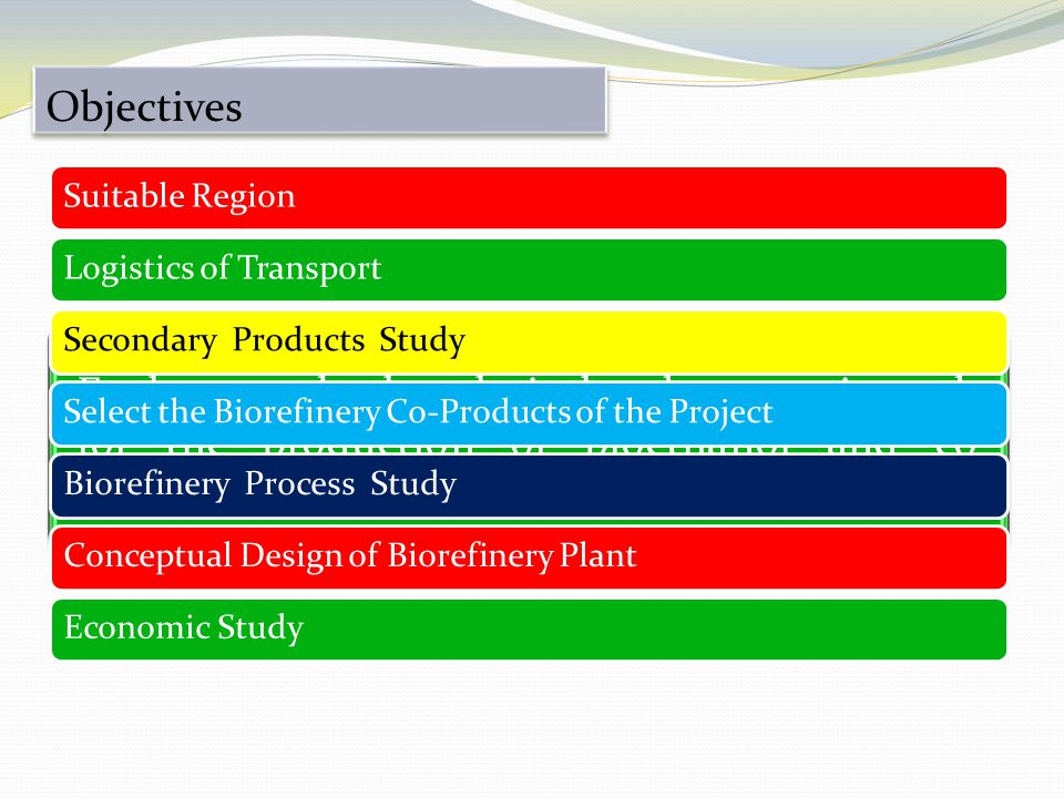 Objectives Exploratory, both technical and economic study, for the production of bioethanol and co- products of biorefinery, from Corn Stubbles.