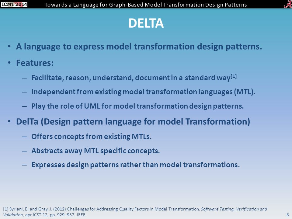 DELTA A language to express model transformation design patterns.