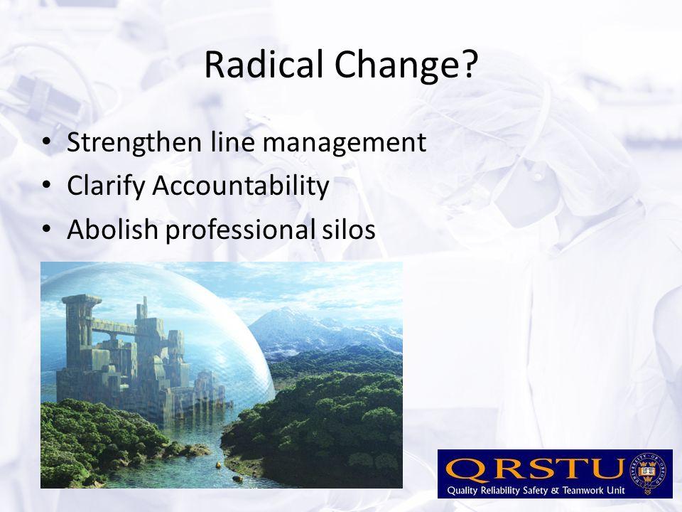 Radical Change? Strengthen line management Clarify Accountability Abolish professional silos