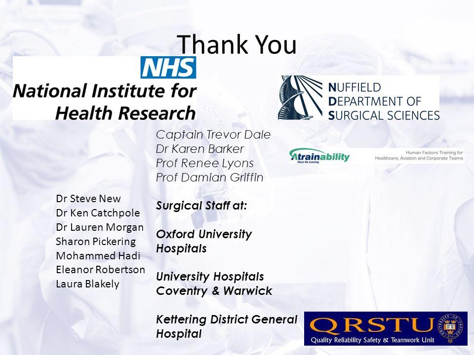 Thank You Captain Trevor Dale Dr Karen Barker Prof Renee Lyons Prof Damian Griffin Surgical Staff at: Oxford University Hospitals University Hospitals