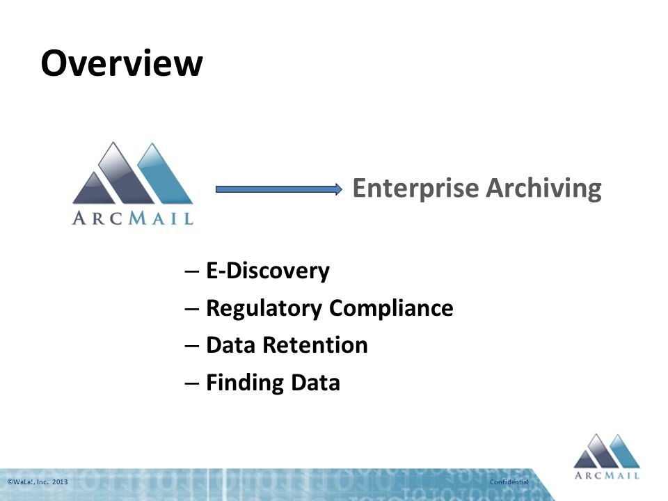 ©WaLa!, Inc. 2013 Confidential Overview Enterprise Archiving – E-Discovery – Regulatory Compliance – Data Retention – Finding Data