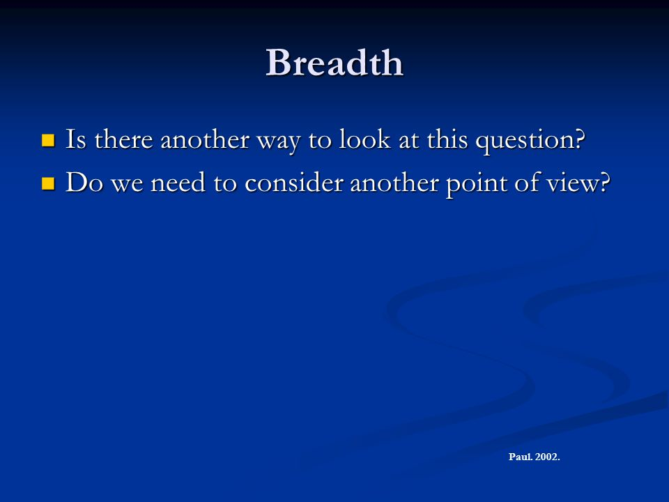Breadth Is there another way to look at this question.