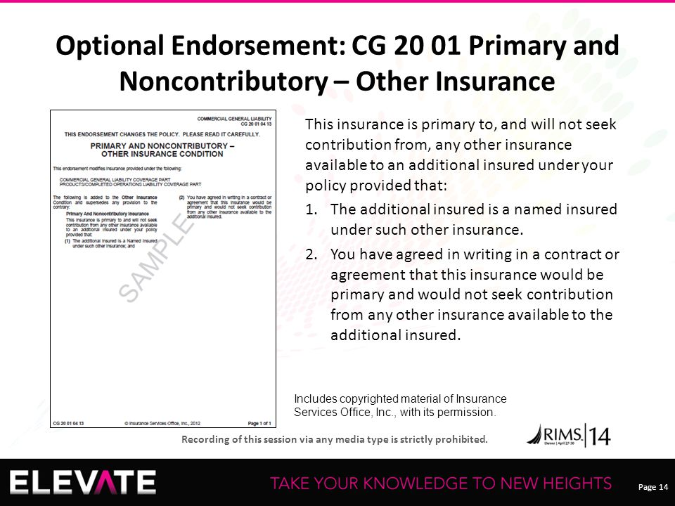 Page 14 Recording of this session via any media type is strictly prohibited. Optional Endorsement: CG 20 01 Primary and Noncontributory – Other Insura