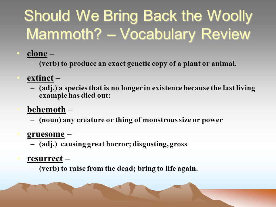 Should We Bring Back the Woolly Mammoth.