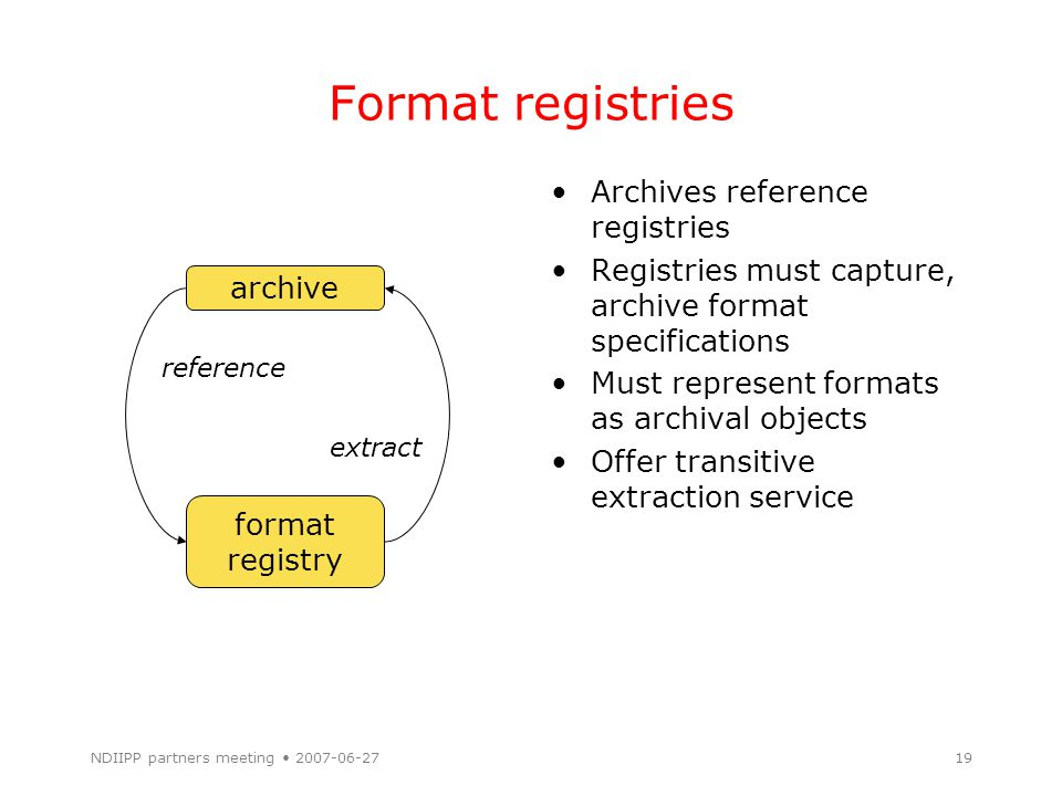 NDIIPP partners meeting 2007-06-2719 Format registries Archives reference registries Registries must capture, archive format specifications Must represent formats as archival objects Offer transitive extraction service archive format registry reference extract