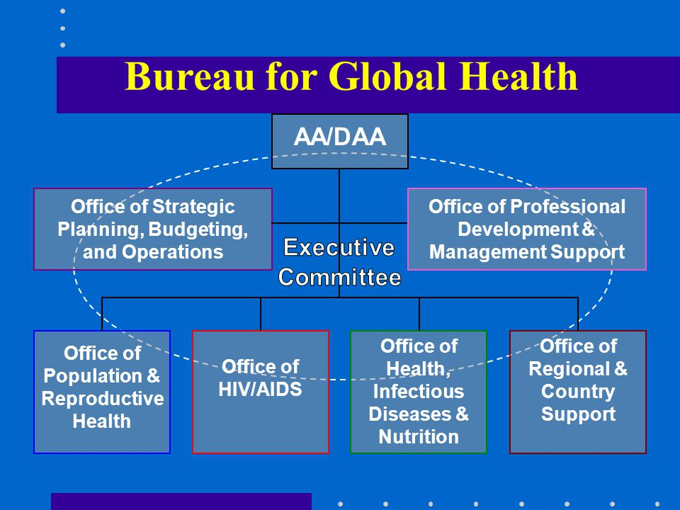 Bureau for Global Health AA/DAA Office of Strategic Planning, Budgeting, and Operations Office of Professional Development & Management Support Office of Population & Reproductive Health Office of HIV/AIDS Office of Health, Infectious Diseases & Nutrition Office of Regional & Country Support