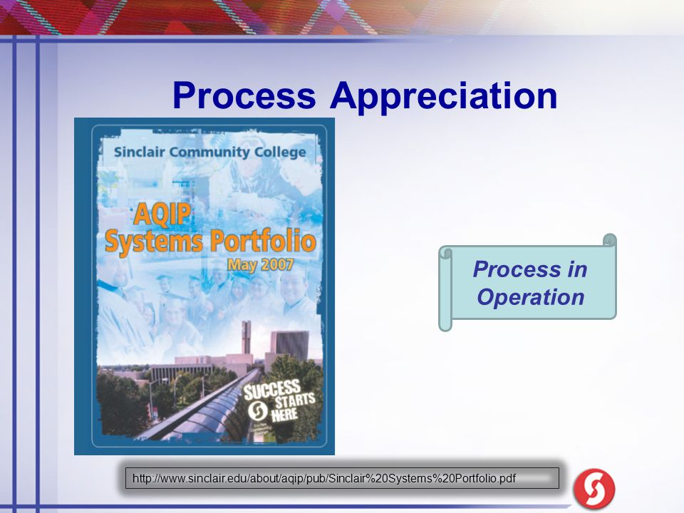 Process Appreciation Process in Operation http://www.sinclair.edu/about/aqip/pub/Sinclair%20Systems%20Portfolio.pdf