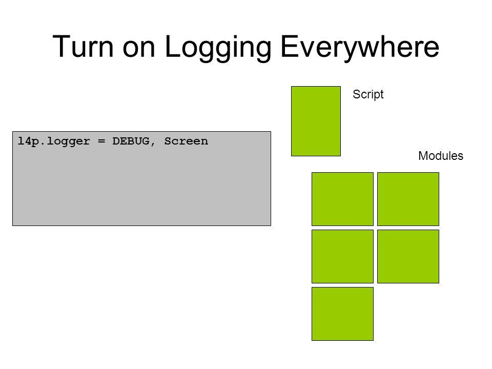 Turn on Logging Everywhere Script Modules l4p.logger = DEBUG, Screen