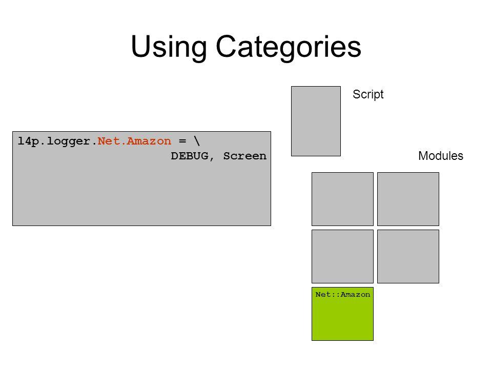 Using Categories l4p.logger.Net.Amazon = \ DEBUG, Screen Net::Amazon Script Modules