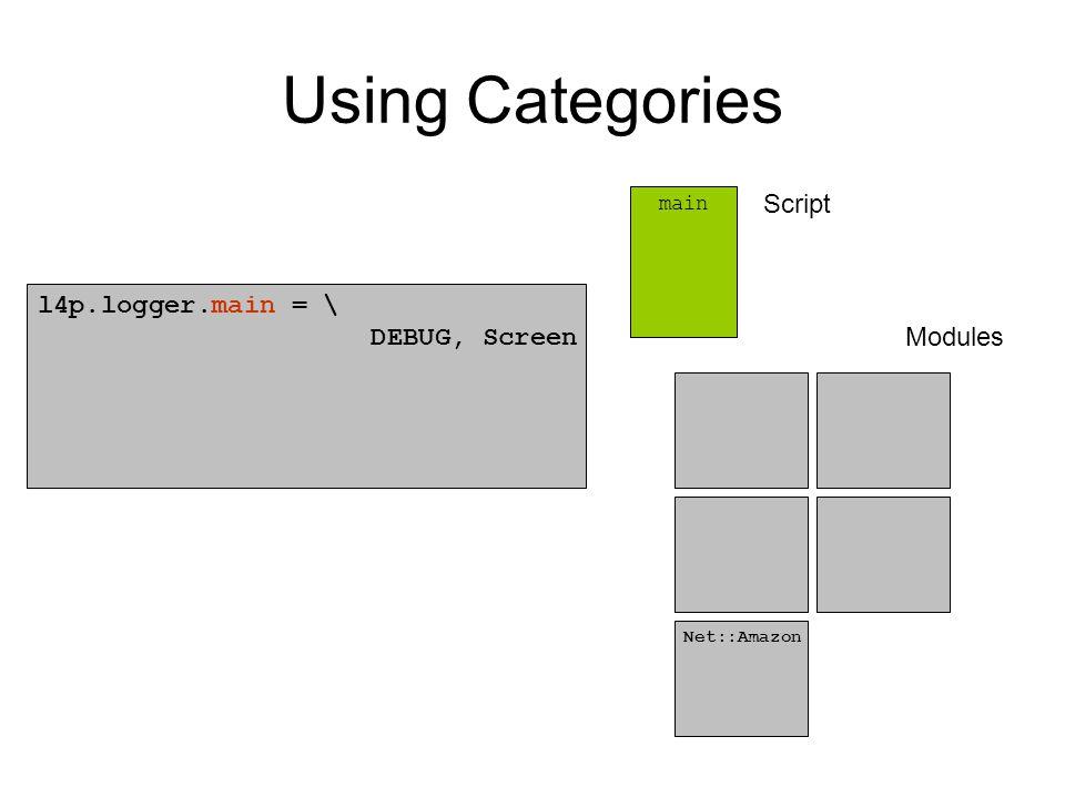 Using Categories l4p.logger.main = \ DEBUG, Screen main Net::Amazon Script Modules