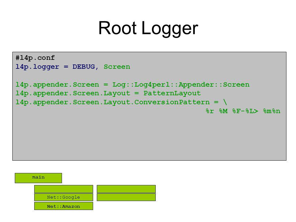 Root Logger #l4p.conf l4p.logger = DEBUG, Screen l4p.appender.Screen = Log::Log4perl::Appender::Screen l4p.appender.Screen.Layout = PatternLayout l4p.appender.Screen.Layout.ConversionPattern = \ %r %M %F-%L> %m%n Net::Google Net::Amazon main