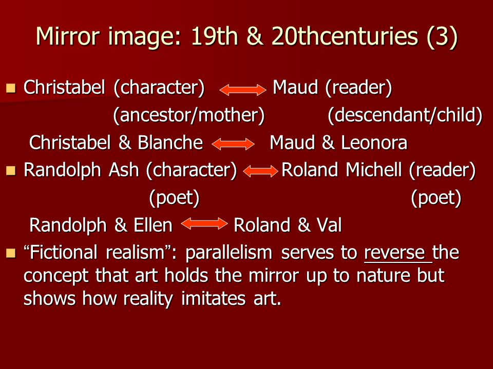 Mirror image: 19th & 20thcenturies (3) Christabel (character) Maud (reader) Christabel (character) Maud (reader) (ancestor/mother) (descendant/child) (ancestor/mother) (descendant/child) Christabel & Blanche Maud & Leonora Christabel & Blanche Maud & Leonora Randolph Ash (character) Roland Michell (reader) Randolph Ash (character) Roland Michell (reader) (poet) (poet) (poet) (poet) Randolph & Ellen Roland & Val Randolph & Ellen Roland & Val Fictional realism : parallelism serves to reverse the concept that art holds the mirror up to nature but shows how reality imitates art.