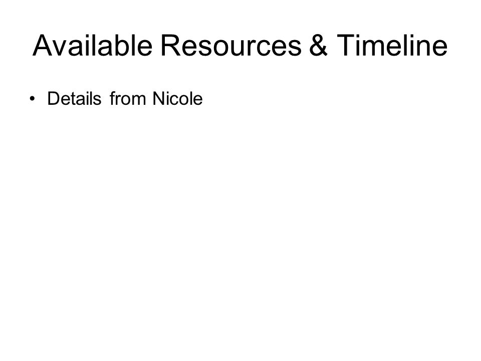 Available Resources & Timeline Details from Nicole