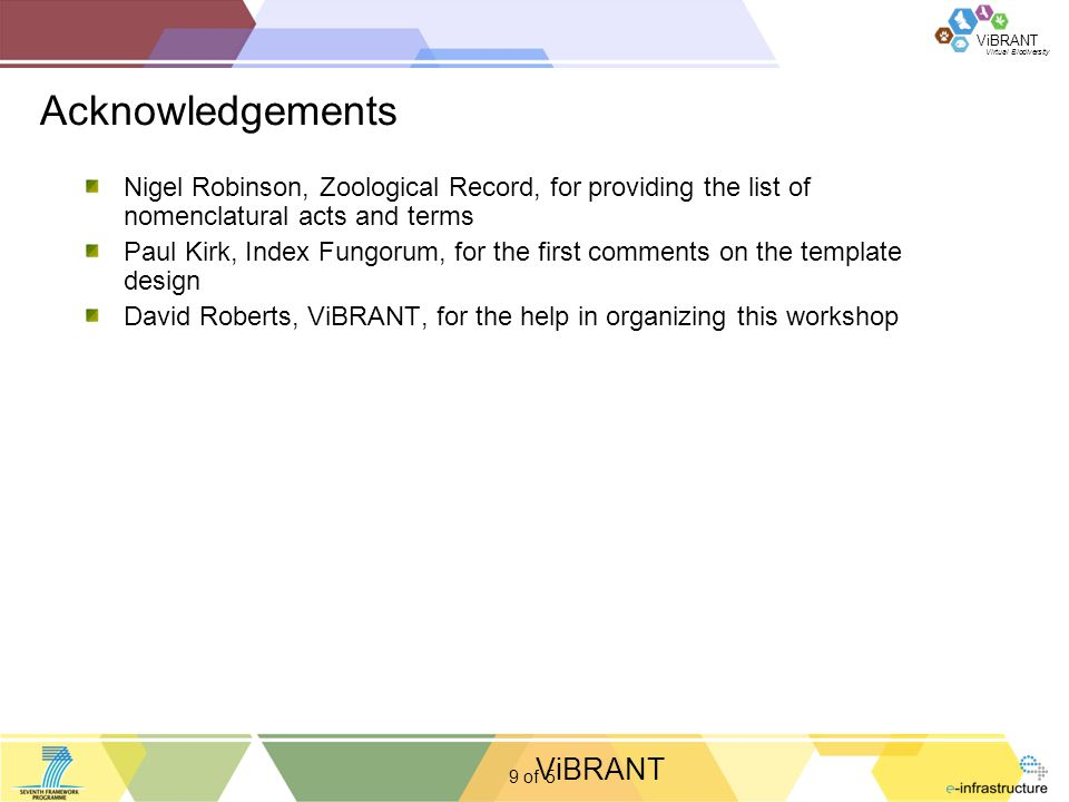 Virtual Biodiversity ViBRANT 9 of Acknowledgements 5 Nigel Robinson, Zoological Record, for providing the list of nomenclatural acts and terms Paul Kirk, Index Fungorum, for the first comments on the template design David Roberts, ViBRANT, for the help in organizing this workshop ViBRANT