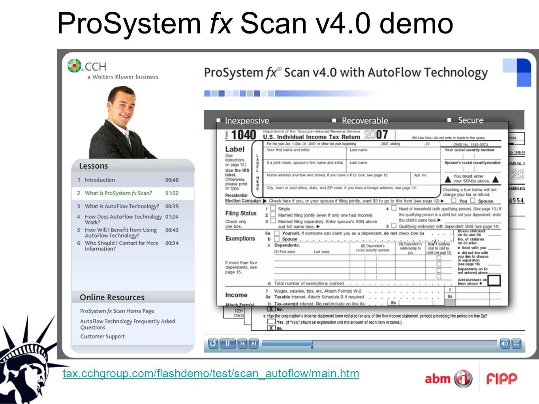 ProSystem fx Scan v4.0 demo tax.cchgroup.com/flashdemo/test/scan_autoflow/main.htm
